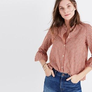 Madewell Gingham Bell-Sleeve top size XS